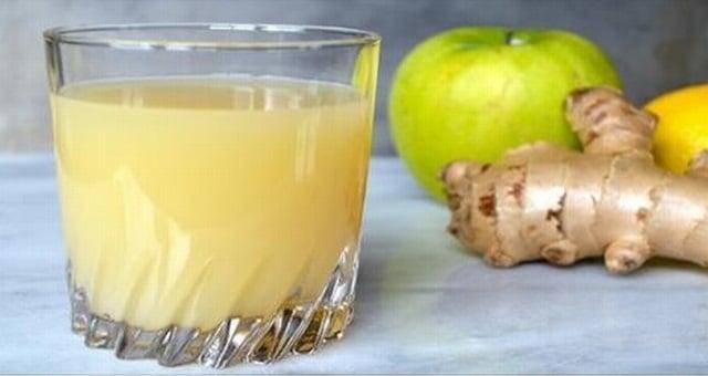 عصير التفاح والزنجبيل والليمون