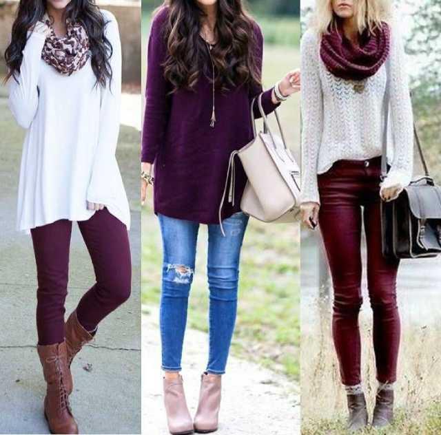 ملابس باللون العنابي والألوان اللائقة عليه بالصور